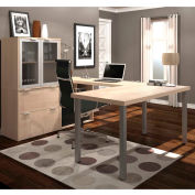 Bestar i3 Series U-Shaped Desk with Hutch in Northern Maple with 2 File Drawers