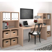 Bestar i3 Series Executive Kit in Northern Maple & Storage Unit w/ 2 Open Cubby Hutch