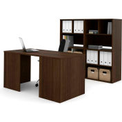 Bestar i3 Series Executive Kit in Medium Oak & Storage Unit w/ 2 Open Cubby Hutch
