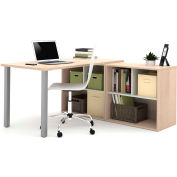 Bestar i3 Series L-Shaped Desk in Northern Maple and Sandstone