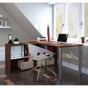 Bestar i3 Series L-Shaped Desk in Medium Oak & Sandstone