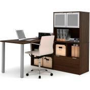 Bestar i3 Series L-Shaped Desk in Medium Oak with 1 File Drawer