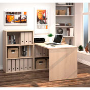 Bestar i3 Series L-Shaped Desk with Hutch in Northern Maple