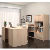 Bestar i3 Series U-Shaped Desk in Northern Maple with 1 File Drawer