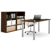 Bestar i3 Series Executive Kit in Medium Oak & Sandstone with Storage Unit & Hutch