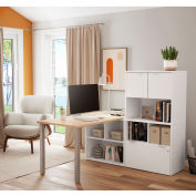 Bestar® L-Desk with Hutch - Northern Maple and White - i3 Plus Series