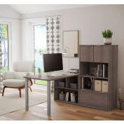 Bestar® L-Desk with Hutch - Bark Gray - i3 Plus Series