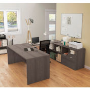 Bestar® U-Desk with Two Drawers - Bark Gray - i3 Plus Series