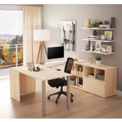 Bestar® U-Desk with One File Drawer - Northern Maple - i3 Plus Series