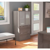 """Bestar® Lateral File Cabinet 2 Drawer 30-1/8""""W x 18-3/16""""D x 56-13/16""""H Bark Gray"""