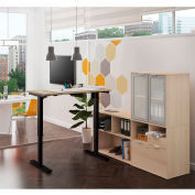 Bestar® Height Adjustable L-Desk with Frosted Hutch - Northern Maple - i3 Plus Series