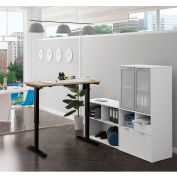 Bestar® Height Adjustable L-Desk with Frosted Hutch - Northern Maple and White - i3 Plus Series