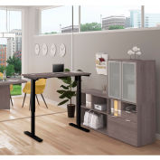 Bestar® Height Adjustable L-Desk with Frosted Hutch - Bark Gray - i3 Plus Series
