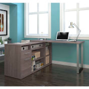 Bestar® L-Shaped Desk - Bark Gray - Solay Series