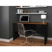 Bestar Somerville Executive Desk W/Two Pedestals In Black & Tuscany Brown