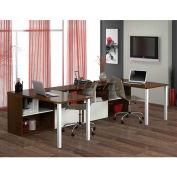 Bestar Contempo Two U-Shaped Desks Kit In Tuxedo & Sandstone