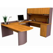 Executive U-shaped Workstation in Cappuccino Cherry