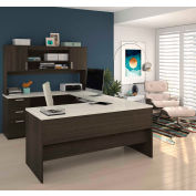 Bestar® U-Shaped Desk - Dark Chocolate and White Chocolate - Ridgeley  Series