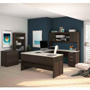Bestar® U-Shaped Desk with Lateral File and Bookcase - Dark/White Chocolate - Ridgeley  Series