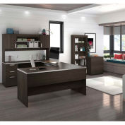 Bestar® U-Shaped Desk with Lateral File and Bookcase - Dark Chocolate - Ridgeley Series