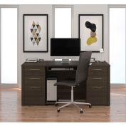 "Bestar® Executive Desk Kit - 66"" - Dark Chocolate - Embassy Series"