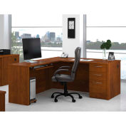Embassy L-shaped Workstation w/ Pedestal & Keyboard Shelf in Tuscany Brown