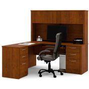 Embassy L-shaped Workstation with Credenza & Hutch in Tuscany Brown