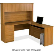 "Bestar® L Desk with Hutch - 66"" - Cappuccino Cherry - Embassy Series"