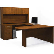 "Bestar® U Desk with Peninsula Table & Hutch - 66"" - Tuscany Brown - Embassy Series"
