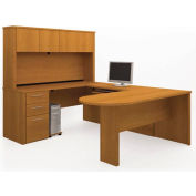 "Bestar® U Desk with Peninsula Table & Hutch - 66"" - Cappuccino Cherry - Embassy Series"