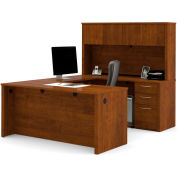 "Bestar® U Desk with Hutch - 66"" - Tuscany Brown - Embassy Series"