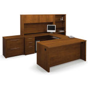 Embassy U-shaped Workstation Kit with Accessories in Tuscany Brown