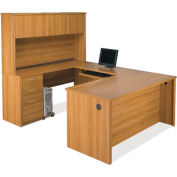 Bestar® U Shaped Desk Kit w/ Hutch, Lateral File & Bookcase - Cappuccino Cherry- Embassy Series