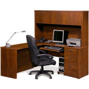 Embassy L-shaped Workstation Kit w/ Credenza & Hutch in Tuscany Brown
