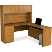 Embassy L-shaped Workstation Kit w/ Credenza & Hutch in Cappuccino Cherry