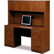 Embassy Credenza and Hutch Kit w/ Assembled Pedestals in Tuscany Brown