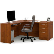 Embassy L-shaped Workstation Kit w/ One Assembled Pedestal in Tuscany Brown