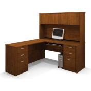 Embassy L-shaped Workstation Kit w/ Two Assembled Pedestals in Tuscany Brown