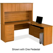 Embassy L-shaped Workstation Kit w/ Two Assembled Pedestals in Cappuccino Cherry