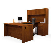 Embassy U-shaped Workstation Kit w/ Assembled Pedestal in Tuscany Brown