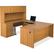 Embassy U-shaped Workstation Kit w/ Assembled Pedestal in Cappuccino Cherry