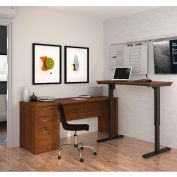 Bestar® L-Desk Including Electric Height Adjustable Table - Tuscany Brown - Embassy Series