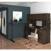 Bestar® L-Desk w/ Hutch and Electric Height Adjustable Table - Dark Chocolate - Embassy Series