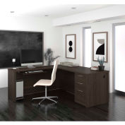 "Bestar® 71"" L-Shaped Desk - 71"" - Dark Chocolate - Embassy Series"