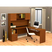 Flame L-shaped Workstation in Cognac Cherry