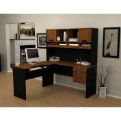 "Bestar® L Desk with Hutch - 60"" - Tuscany Brown & Black - Innova Series"