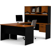 "Bestar® U Shape Workstation with Hutch - 60"" - Tuscany Brown & Black - Innova Series"