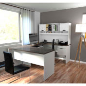 Bestar® U-Shaped Workstation - White and Antigua - Innova Series