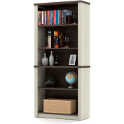 "Bestar® Modular Bookcase 5 Shelf 30-13/16""W x 12-7/8""D x 66-13/16""H White Chocolate & Antigua"