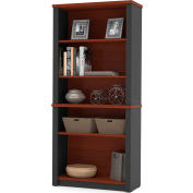 "Bestar® Modular Bookcase - 66-3/4""H - Bordeaux and Graphite - Prestige+"
